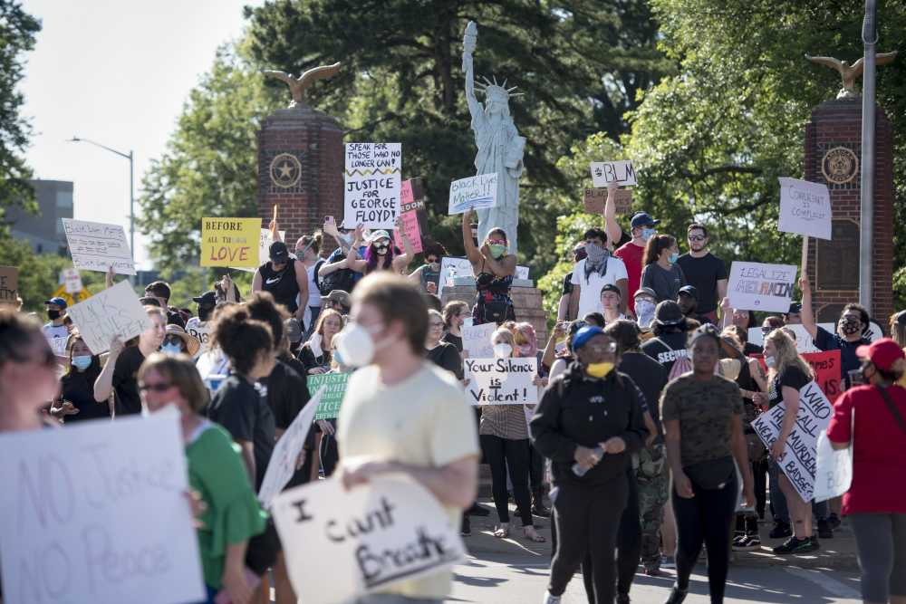 Local demonstrators express solidarity with Black Lives Matter movement
